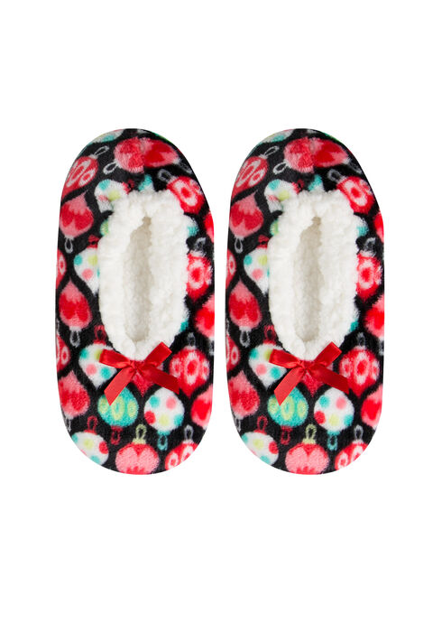 Ladies' Fuzzy Holiday Slippers, BLACK, hi-res