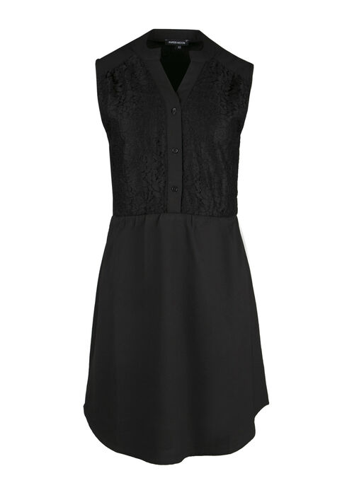Ladies' Chiffon Shirt Dress, BLACK, hi-res