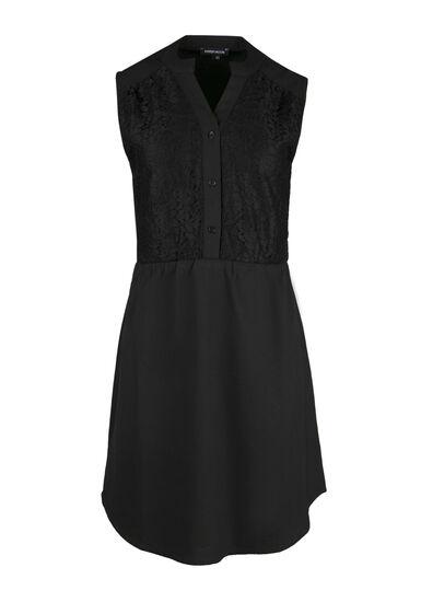 Ladies' Chiffon Shirt Dress, BLACK, hi-res