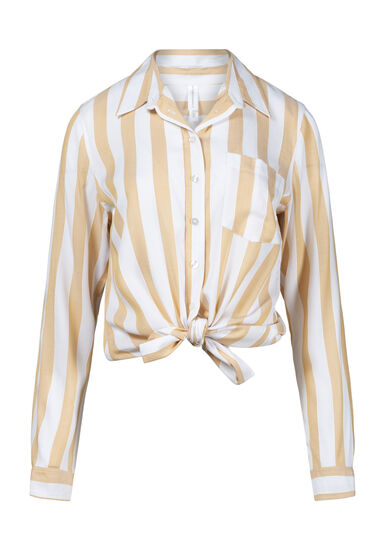 Women's Striped Tie Hem Shirt, MUSTARD, hi-res