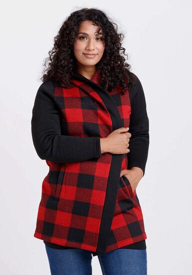 Women's Buffalo Plaid Hooded Cardigan, RED/BLACK, hi-res
