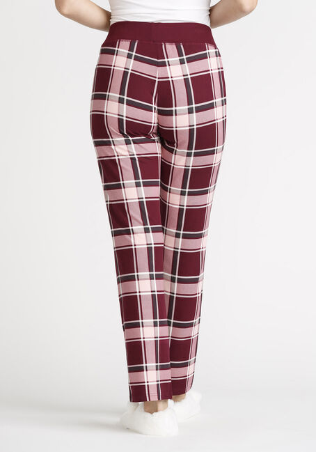 Women's Plaid Open Leg Pant, BURGUNDY, hi-res