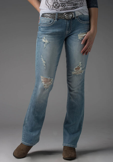 Ladies' Baby Boot Destroyed Light Jeans