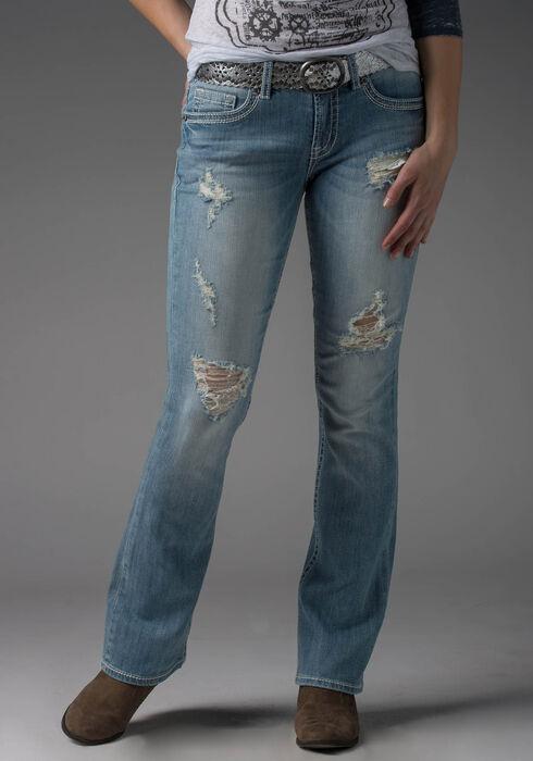 Ladies' Baby Boot Destroyed Light Jeans, LIGHT WASH, hi-res
