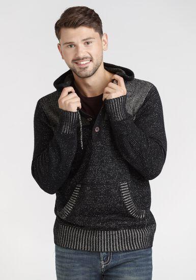 Men's Henley Hooded Sweater, BLACK, hi-res