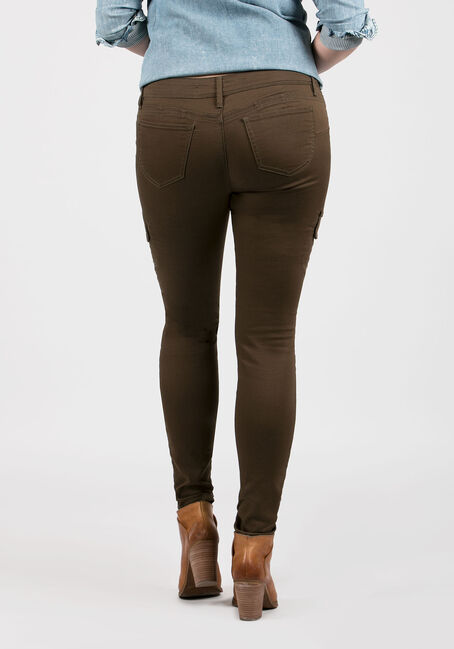 Ladies' Skinny Cargo Pants, OLIVE, hi-res