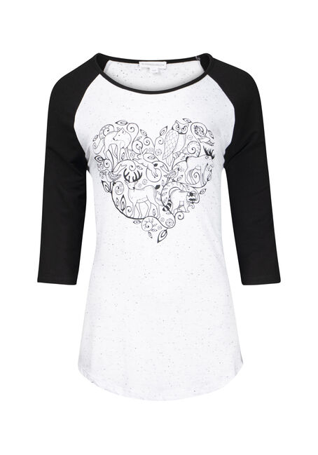 Women's Woodland Heart Baseball Tee