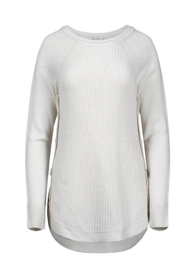 Women's Side Button Sweater, OATMEAL, hi-res