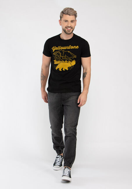 Men's Yellowstone National Park Tee, BLACK, hi-res