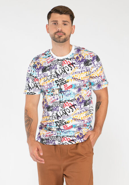 Men's Multicolour Graffiti Tee
