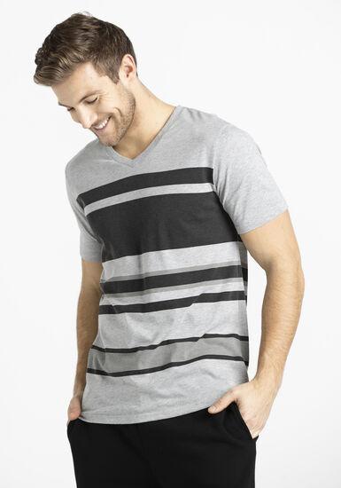 Men's Print Stripe Tee, LIGHT GREY, hi-res