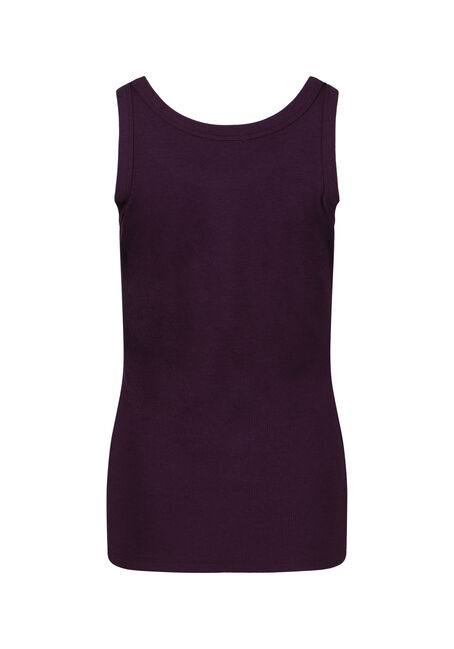 Women's Rib Knit Tank Top, PLUM, hi-res