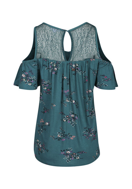 Ladies' Floral Cold Shoulder Top, TEAL, hi-res