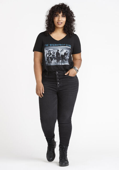 Women's Breakfast Club V Neck Tee, BLACK, hi-res