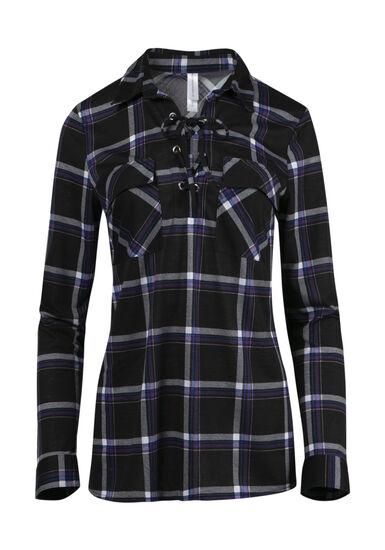 Women's Lace Up Knit Plaid Shirt, BLACK, hi-res