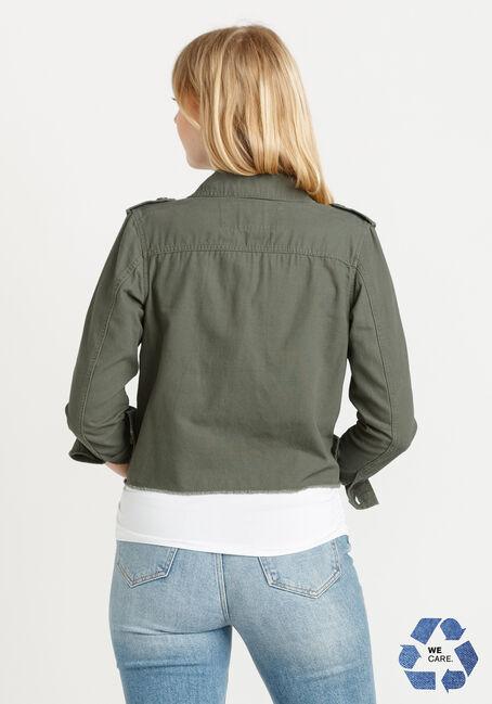 Women's Cropped Canvas Utility Jacket With Frayed Hem, DARK OLIVE, hi-res
