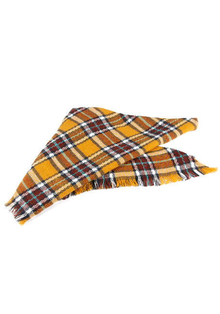 Women's Plaid Blanket Scarf, MUSTARD, hi-res