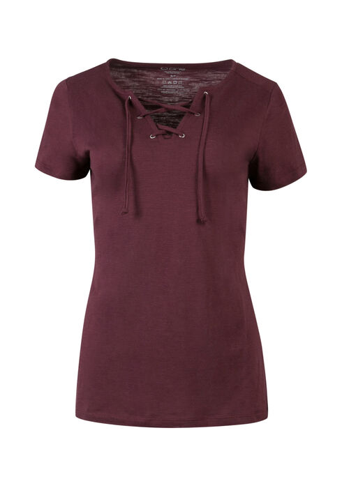 Ladies' Lace Up Tee, MULBERRY, hi-res