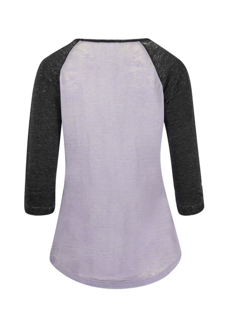 Ladies' Roll My Eyes Baseball Tee, LAVENDER/BLACK, hi-res