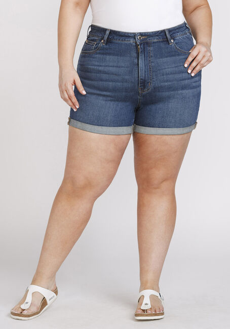Women's Plus Size High Rise Curvy Cuffed Short