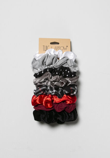 Women's Scrunchy Set, RED, hi-res