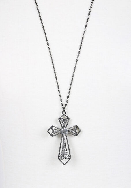 Ladies' Cross Necklace, BLACK, hi-res