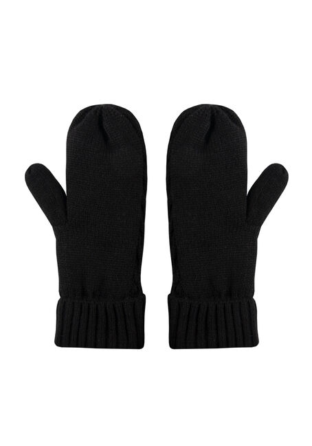 Women's Thermal Mittens, BLACK, hi-res