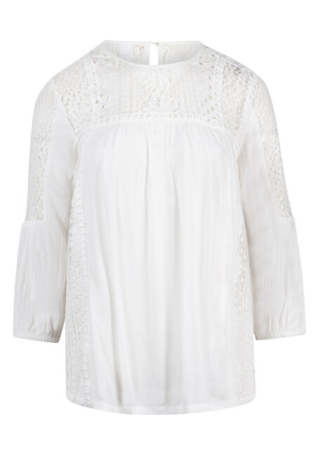 Women's Lace Trim Peasant Top