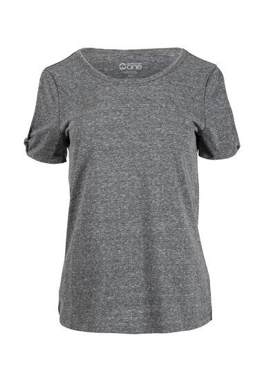 Women's Split Sleeve Tee, BLACK, hi-res