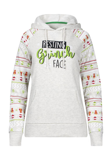 Women's Resting Grinch Face Hoodie, OATMEAL, hi-res