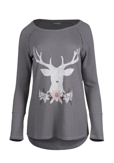 Ladies' Reindeer Top, GREY, hi-res