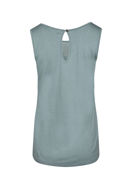 Women's Lace Trim Tank, SAGE, hi-res