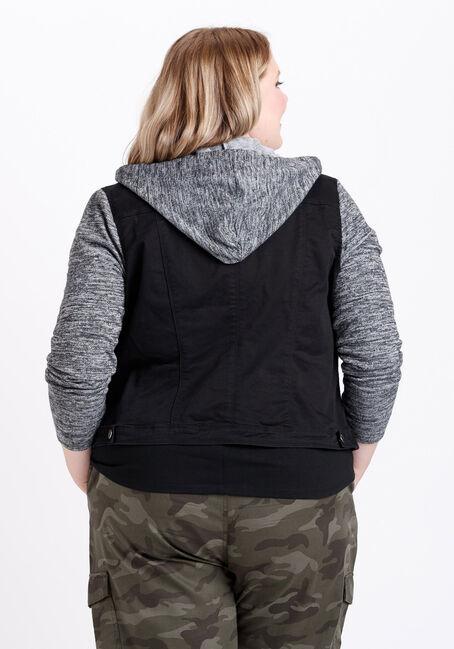 Women's Knit Sleeve Black Jean Jacket, BLACK, hi-res