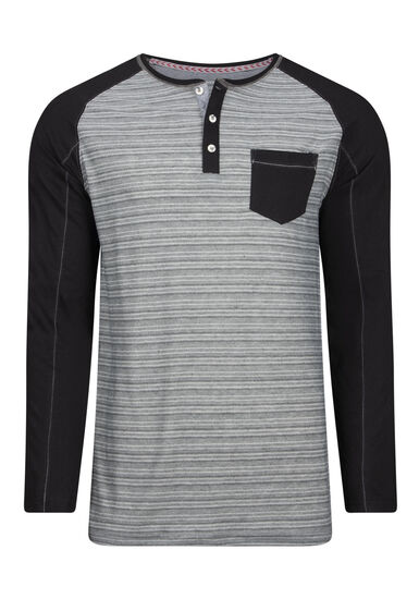 Men's Everyday Henley Tee, BLACK, hi-res