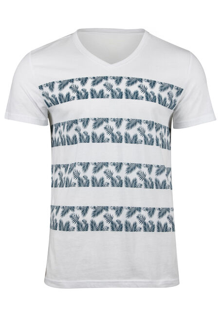 Men's Tropical Stripe V Neck Tee
