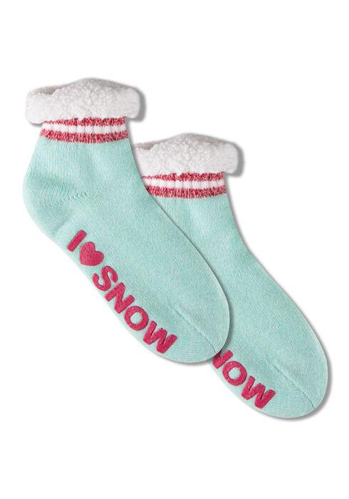 Women's Snow Days Slipper Socks, PALE BLUE, hi-res