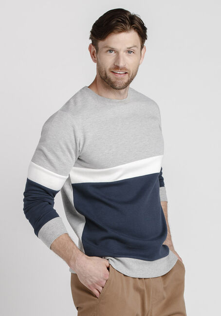 Men's Colour Block Crew Neck Fleece, HEATHER GREY, hi-res