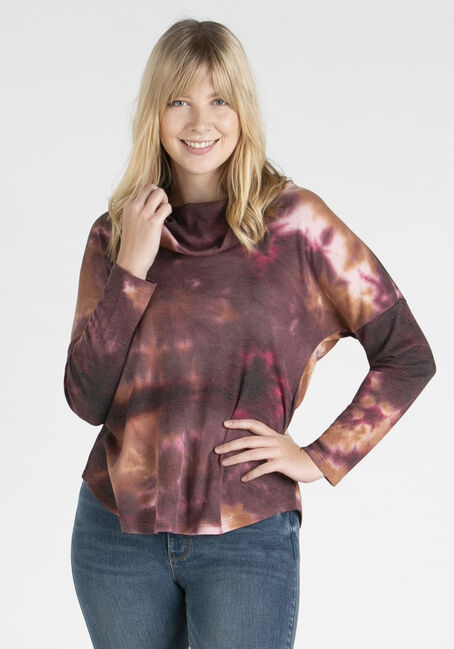 Women's Tie Dye Cowl Neck Top