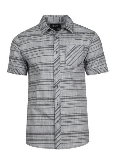 Men's Tonal Stripe Shirt, CHARCOAL, hi-res