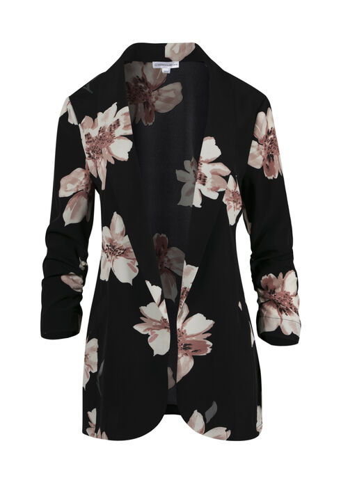Women's Floral Ruched Sleeve Blazer, BLACK, hi-res