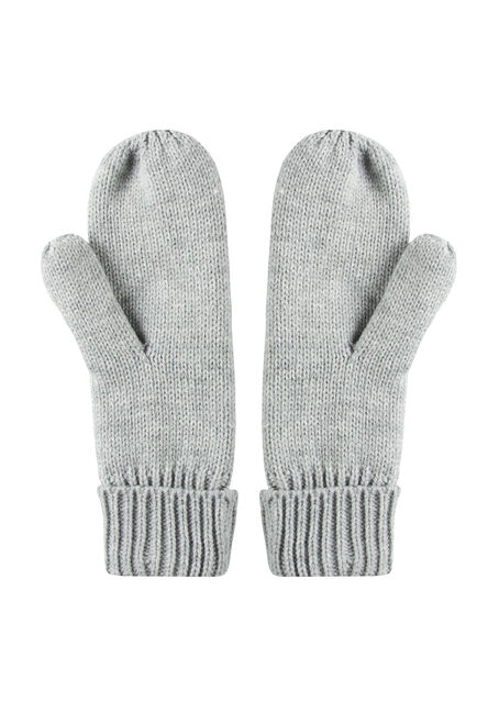 Women's Knit Mittens, LIGHT GREY, hi-res