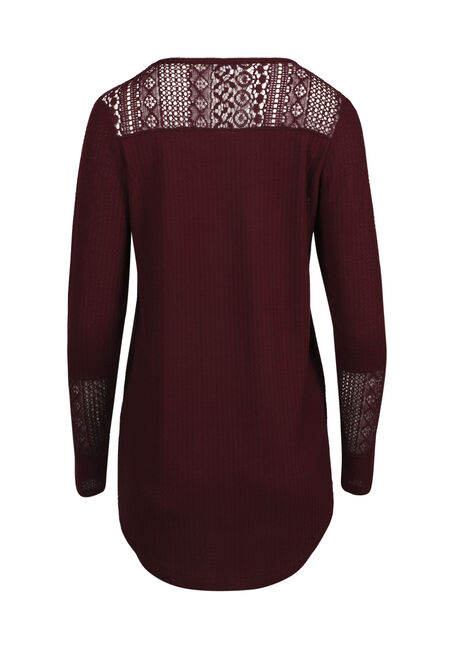 Ladies' Crochet Insert Peasant Top, WINE, hi-res