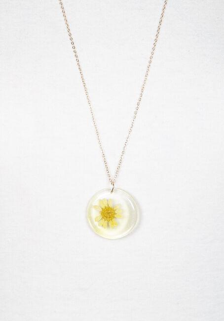 Women's long daisy pendant necklace, GOLD, hi-res