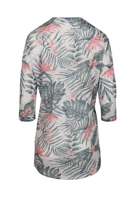 Women's Palm Print Cardigan, OATMEAL COMBO, hi-res
