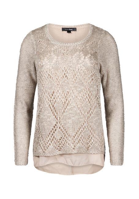 Women's Chiffon Back Shimmer Sweater