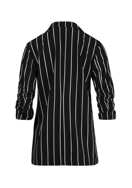 Ladies' Striped Blazer, BLK/WHT, hi-res