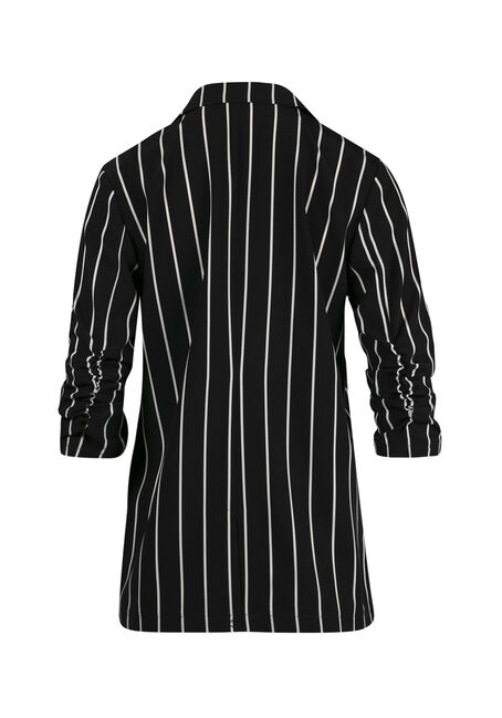 Women's Striped Blazer, BLK/WHT, hi-res