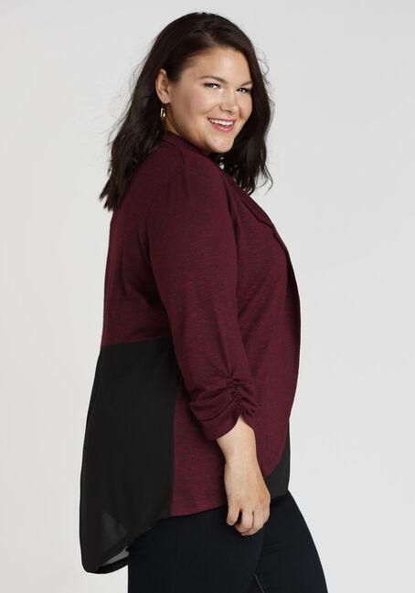 Women's Chiffon Back Blazer, WINE/BLACK, hi-res