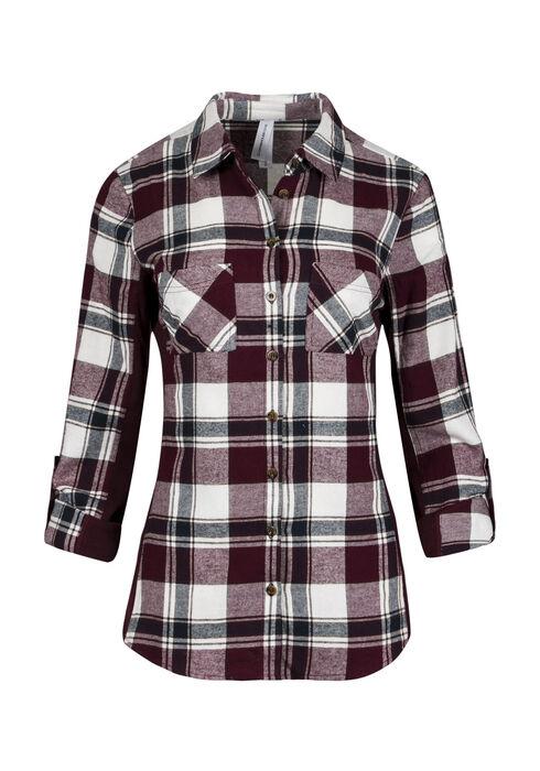 Ladies' Rib Insert Flannel Shirt, WINE, hi-res