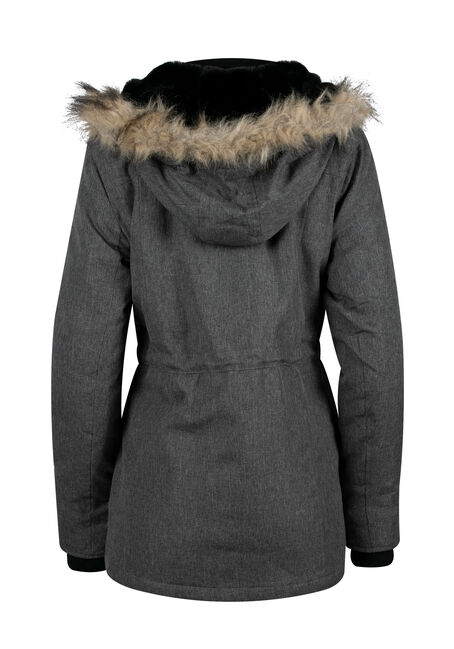 Ladies' Fur Trim Parka, GREY, hi-res